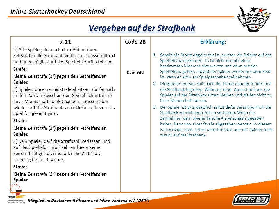 Inline-Skaterhockey Deutschland Mitglied im Deutschen Rollsport und Inline Verband e.V. (DRIV) Vergehen auf der Strafbank 7.11 1) Alle Spieler, die na