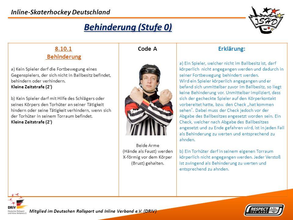 Inline-Skaterhockey Deutschland Mitglied im Deutschen Rollsport und Inline Verband e.V. (DRIV) Behinderung (Stufe 0) 8.10.1 Behinderung a) Kein Spiele
