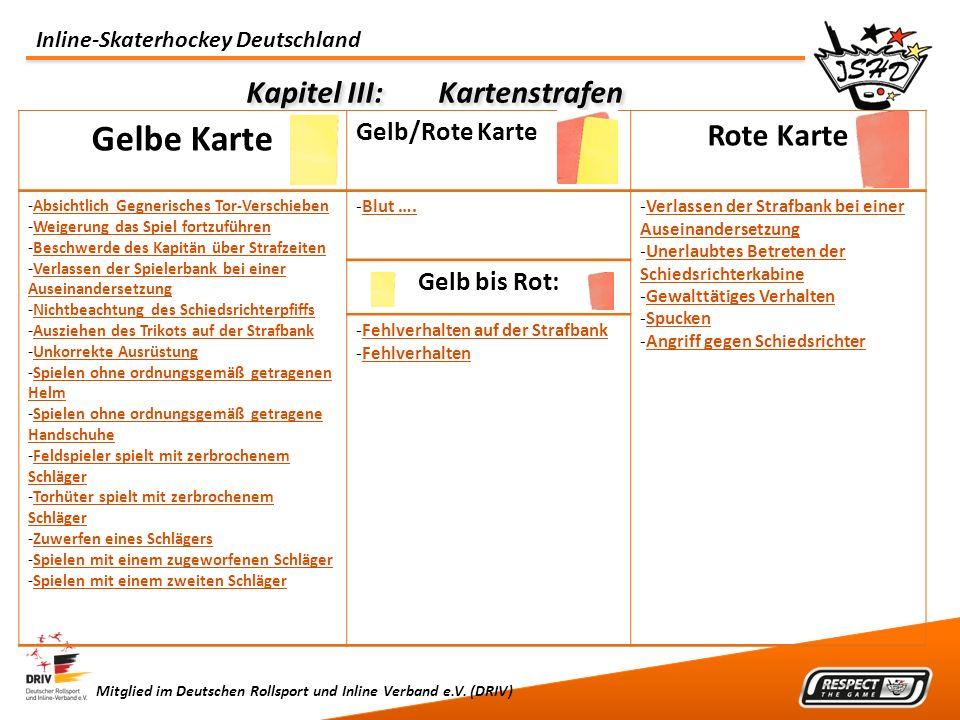 Inline-Skaterhockey Deutschland Mitglied im Deutschen Rollsport und Inline Verband e.V. (DRIV) Kapitel III:Kartenstrafen Gelbe Karte Gelb/Rote Karte R