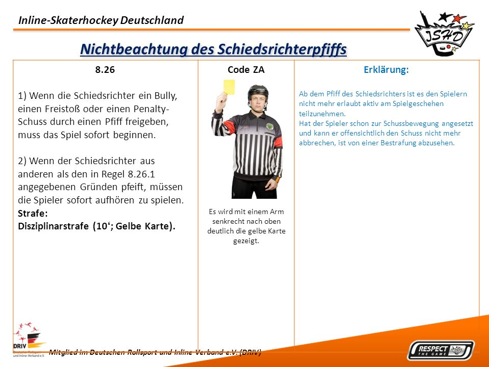 Inline-Skaterhockey Deutschland Mitglied im Deutschen Rollsport und Inline Verband e.V. (DRIV) Nichtbeachtung des Schiedsrichterpfiffs 8.26 1) Wenn di
