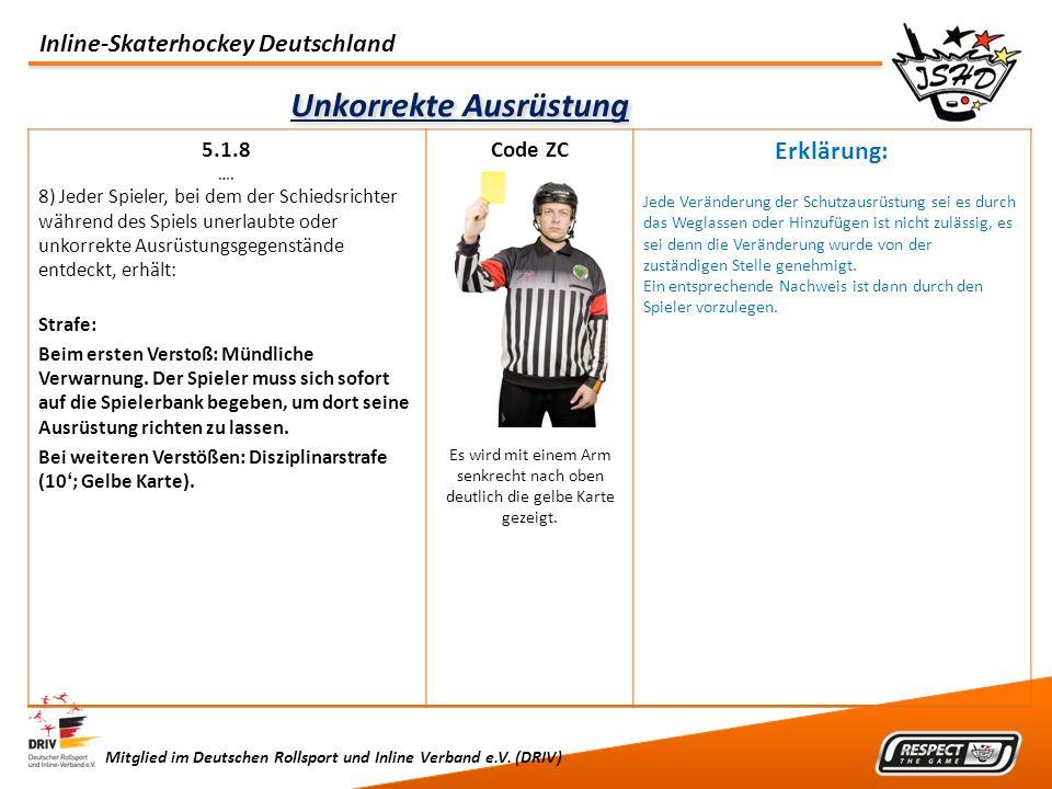 Inline-Skaterhockey Deutschland Mitglied im Deutschen Rollsport und Inline Verband e.V. (DRIV) Unkorrekte Ausrüstung 5.1.8 …. 8) Jeder Spieler, bei de