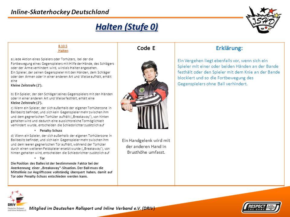 Inline-Skaterhockey Deutschland Mitglied im Deutschen Rollsport und Inline Verband e.V. (DRIV) Halten (Stufe 0) 8.10.5 Halten a) Jede Aktion eines Spi