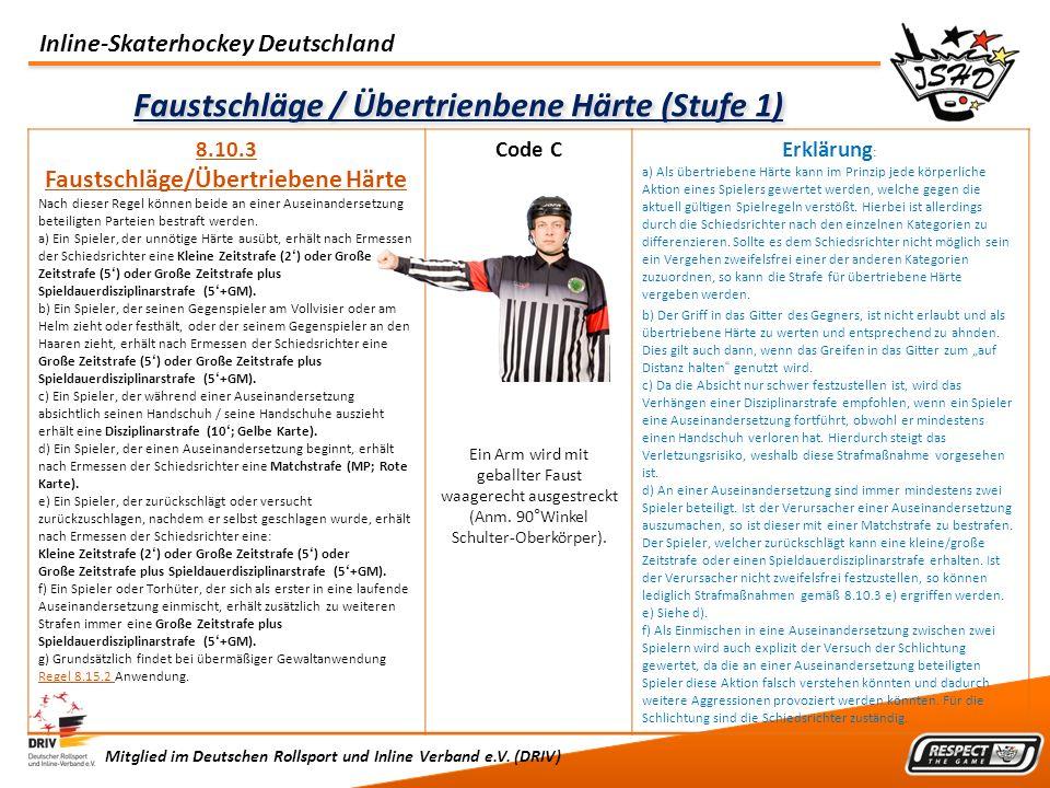 Inline-Skaterhockey Deutschland Mitglied im Deutschen Rollsport und Inline Verband e.V. (DRIV) Faustschläge / Übertrienbene Härte (Stufe 1) 8.10.3 Fau