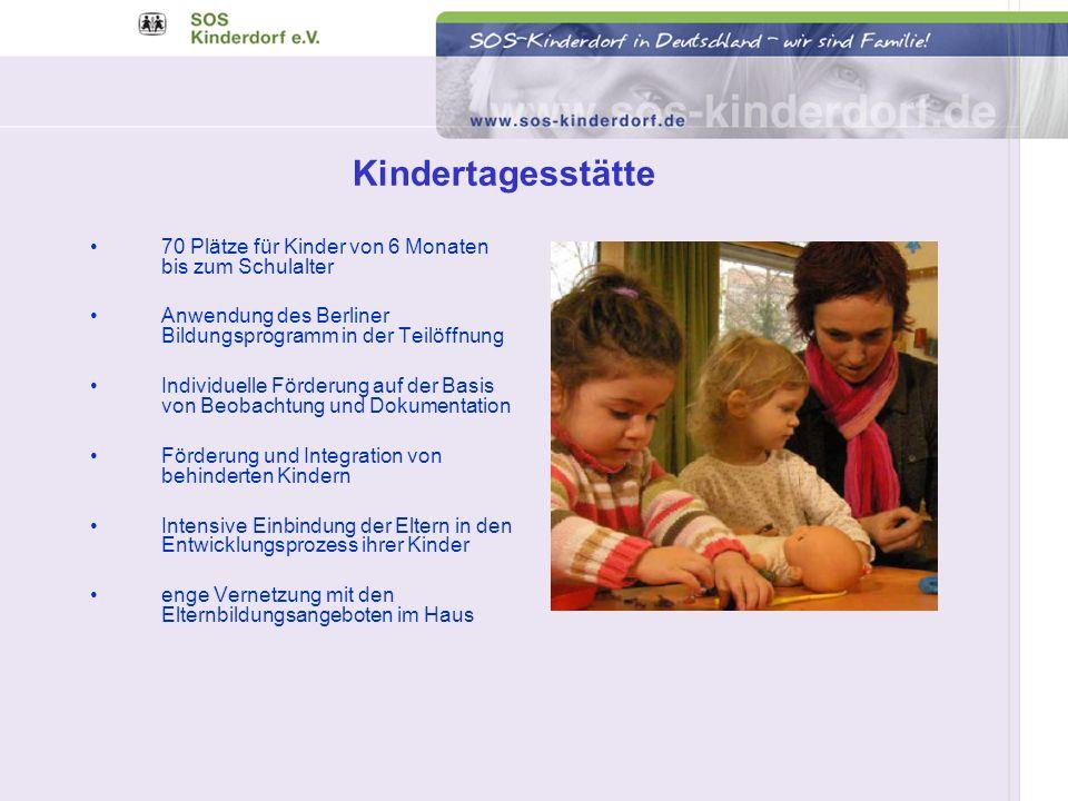 Kindertagesstätte 70 Plätze für Kinder von 6 Monaten bis zum Schulalter Anwendung des Berliner Bildungsprogramm in der Teilöffnung Individuelle Förder
