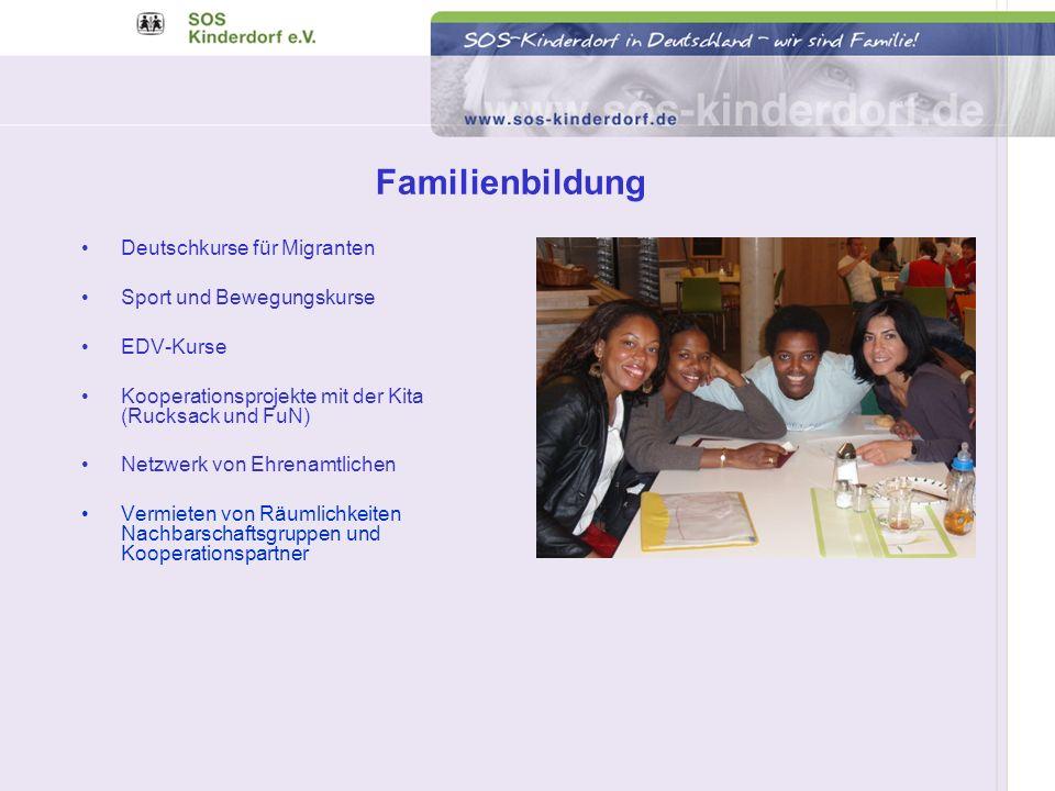 Deutschkurse für Migranten Sport und Bewegungskurse EDV-Kurse Kooperationsprojekte mit der Kita (Rucksack und FuN) Netzwerk von Ehrenamtlichen Vermiet