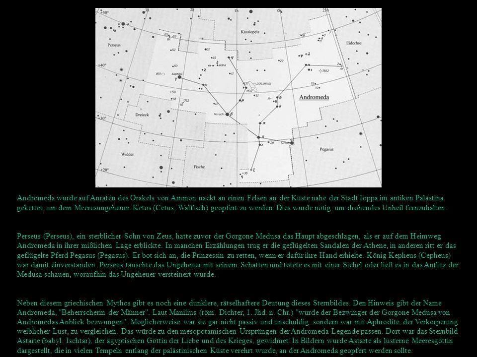 Andromeda wurde auf Anraten des Orakels von Ammon nackt an einen Felsen an der Küste nahe der Stadt Ioppa im antiken Palästina gekettet, um dem Meeres