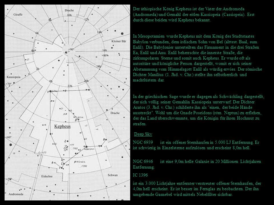 Der äthiopische König Kepheus ist der Vater der Andromeda (Andromeda) und Gemahl der eitlen Kassiopeia (Cassiopeia). Erst durch diese beiden wird Keph