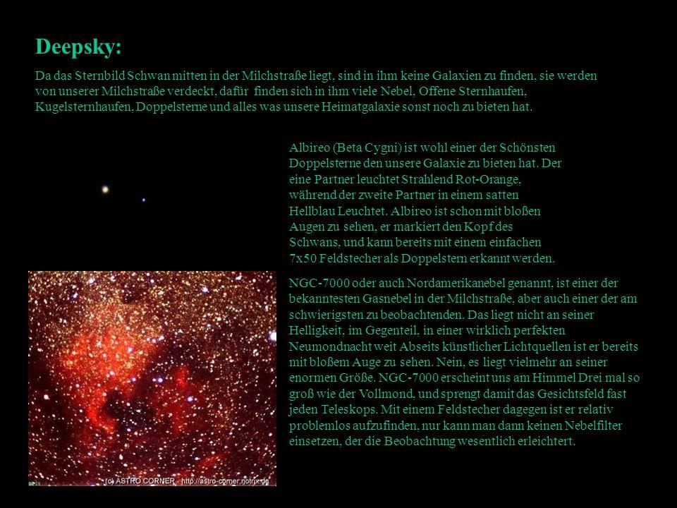 Deepsky: Da das Sternbild Schwan mitten in der Milchstraße liegt, sind in ihm keine Galaxien zu finden, sie werden von unserer Milchstraße verdeckt, d