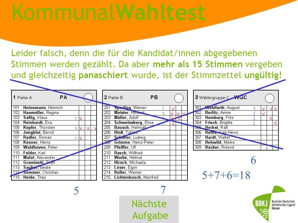 KommunalWahltest 1 3 1 5 1 3 2 1 7 3 1 5+7+6=18 1 1 6 Leider falsch, denn die für die Kandidat/innen abgegebenen Stimmen werden gezählt.