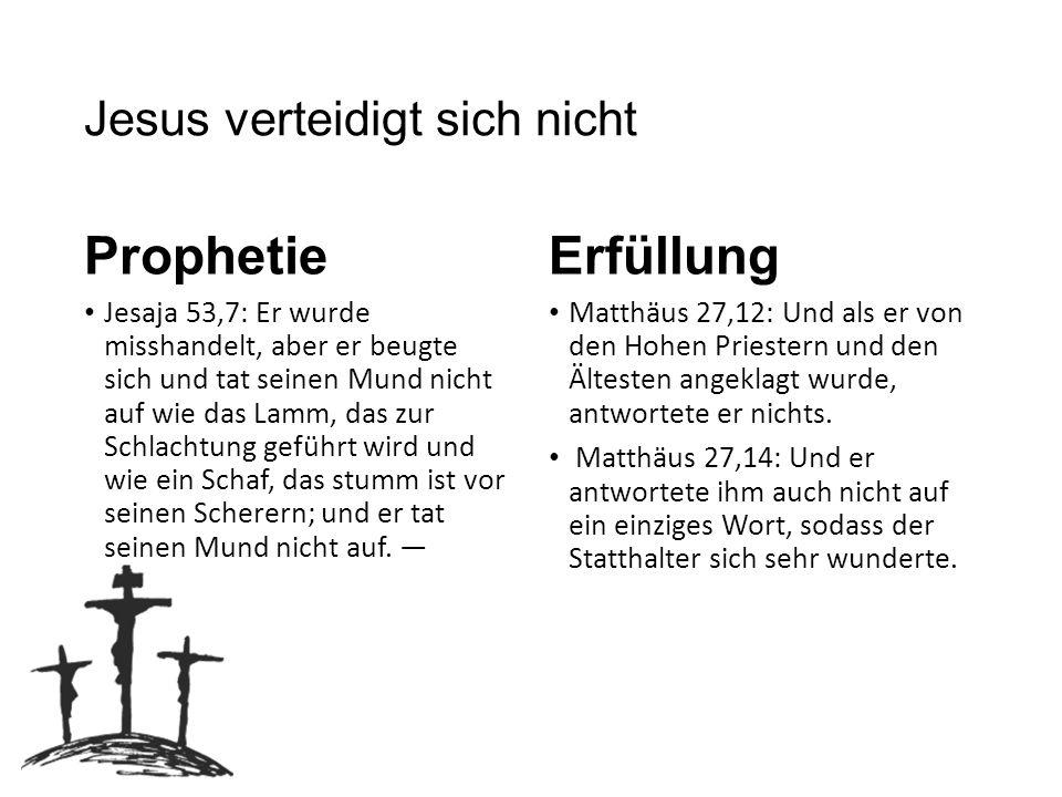 Jesus wird verspottet und misshandelt Prophetie Psalmen 22,7-8: Alle, die mich sehen, spotten über mich; sie verziehen die Lippen, schütteln den Kopf:»Er hat es auf den HERRN gewälzt, der rette ihn, befreie ihn, denn er hat ja Gefallen an ihm!« Jesaja 50,6: Ich bot meinen Rücken den Schlagenden und meine Wangen den Raufenden, mein Angesicht verbarg ich nicht vor Schmähungen und Speichel.
