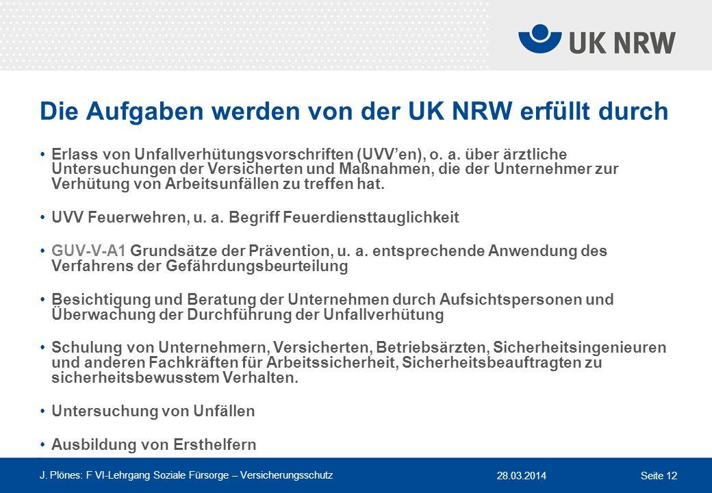 28.03.2014 J. Plönes: F VI-Lehrgang Soziale Fürsorge – Versicherungsschutz Seite 12 Die Aufgaben werden von der UK NRW erfüllt durch Erlass von Unfall