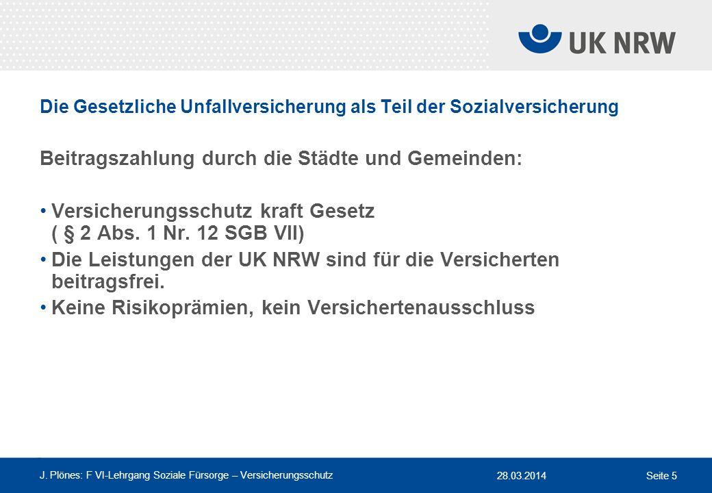 28.03.2014 J. Plönes: F VI-Lehrgang Soziale Fürsorge – Versicherungsschutz Seite 5 Die Gesetzliche Unfallversicherung als Teil der Sozialversicherung