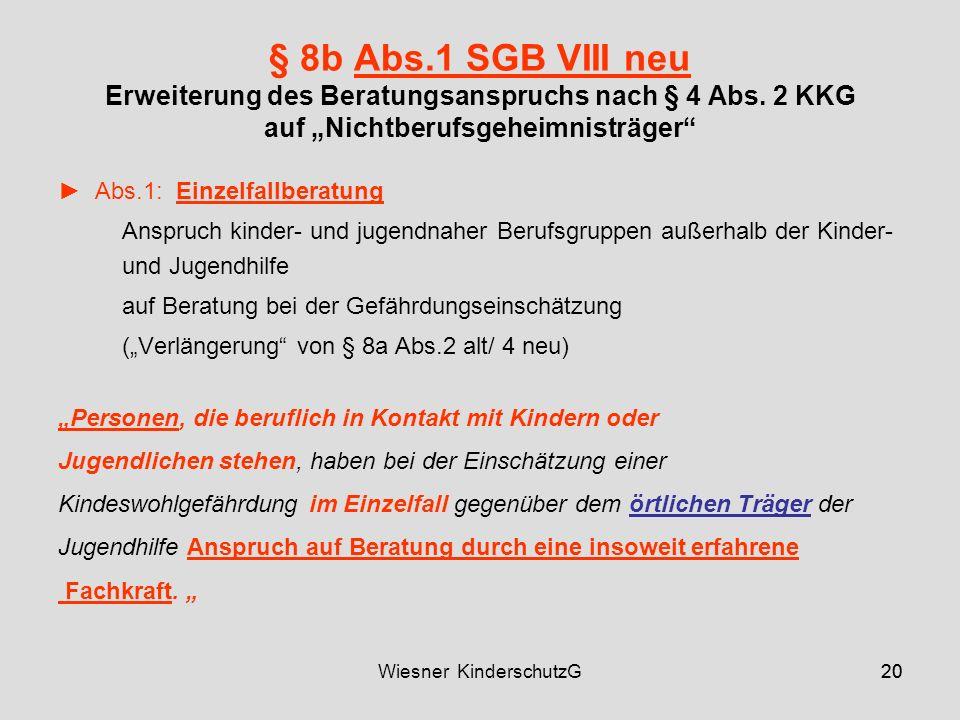 20Wiesner KinderschutzG20 § 8b Abs.1 SGB VIII neu Erweiterung des Beratungsanspruchs nach § 4 Abs.