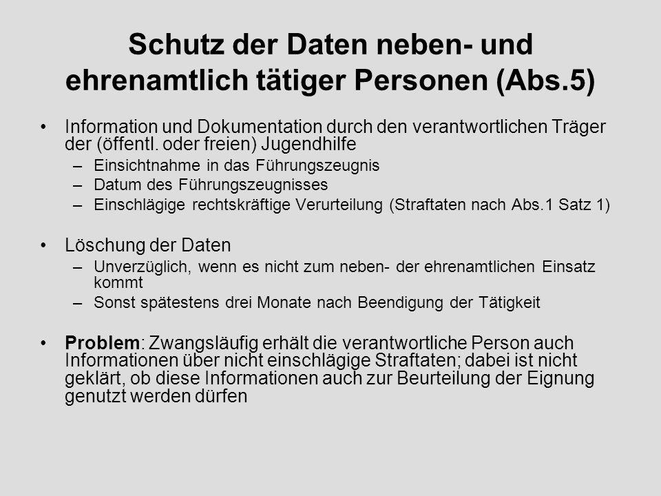 Schutz der Daten neben- und ehrenamtlich tätiger Personen (Abs.5) Information und Dokumentation durch den verantwortlichen Träger der (öffentl.
