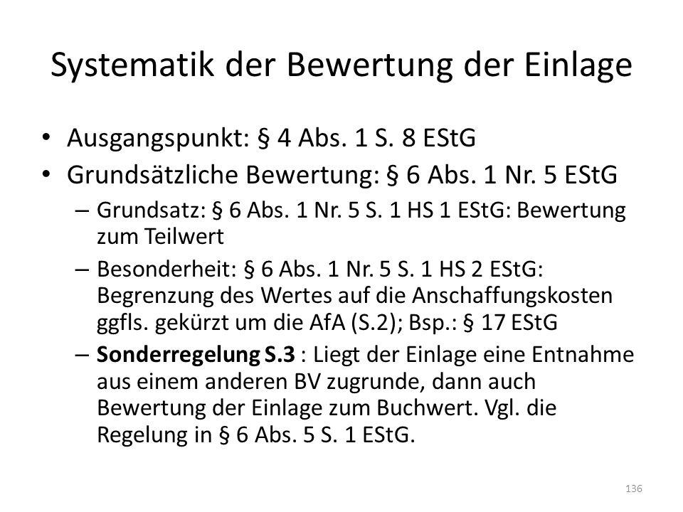Systematik der Bewertung der Einlage Ausgangspunkt: § 4 Abs.