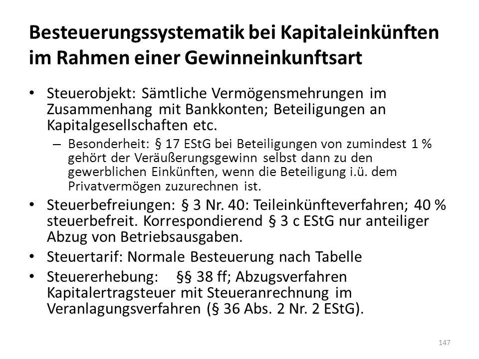 Besteuerungssystematik bei Kapitaleinkünften im Rahmen einer Gewinneinkunftsart Steuerobjekt: Sämtliche Vermögensmehrungen im Zusammenhang mit Bankkonten; Beteiligungen an Kapitalgesellschaften etc.