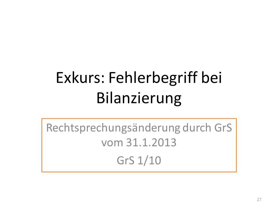 Exkurs: Fehlerbegriff bei Bilanzierung Rechtsprechungsänderung durch GrS vom 31.1.2013 GrS 1/10 27
