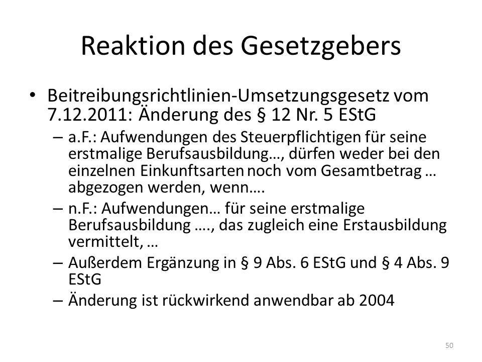 Reaktion des Gesetzgebers Beitreibungsrichtlinien-Umsetzungsgesetz vom 7.12.2011: Änderung des § 12 Nr. 5 EStG – a.F.: Aufwendungen des Steuerpflichti