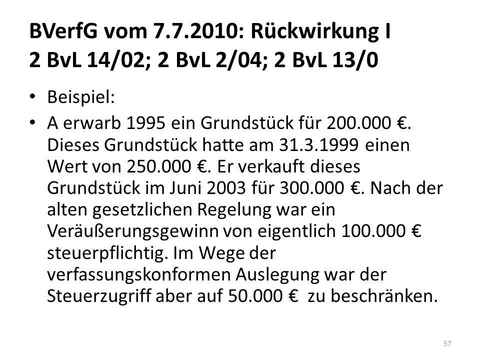 BVerfG vom 7.7.2010: Rückwirkung I 2 BvL 14/02; 2 BvL 2/04; 2 BvL 13/0 Beispiel: A erwarb 1995 ein Grundstück für 200.000. Dieses Grundstück hatte am