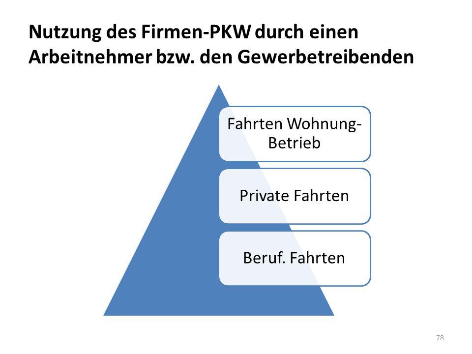 Nutzung des Firmen-PKW durch einen Arbeitnehmer bzw. den Gewerbetreibenden 78 Fahrten Wohnung- Betrieb Private FahrtenBeruf. Fahrten
