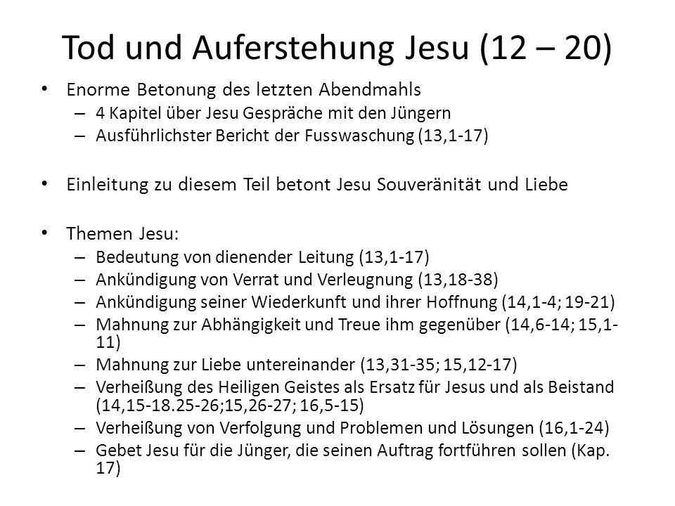 Tod und Auferstehung Jesu (12 – 20) Enorme Betonung des letzten Abendmahls – 4 Kapitel über Jesu Gespräche mit den Jüngern – Ausführlichster Bericht d