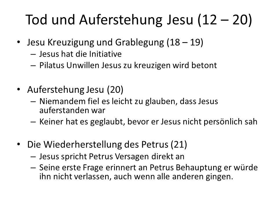 Tod und Auferstehung Jesu (12 – 20) Jesu Kreuzigung und Grablegung (18 – 19) – Jesus hat die Initiative – Pilatus Unwillen Jesus zu kreuzigen wird bet