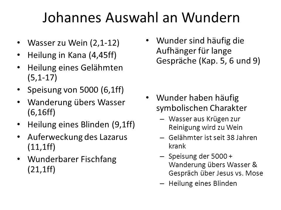 Johannes Auswahl an Wundern Wasser zu Wein (2,1-12) Heilung in Kana (4,45ff) Heilung eines Gelähmten (5,1-17) Speisung von 5000 (6,1ff) Wanderung über