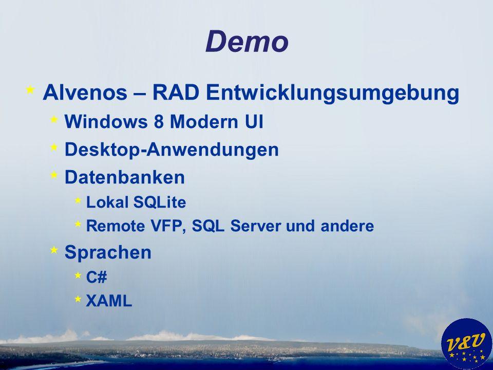 Demo * Alvenos – RAD Entwicklungsumgebung * Windows 8 Modern UI * Desktop-Anwendungen * Datenbanken * Lokal SQLite * Remote VFP, SQL Server und andere * Sprachen * C# * XAML