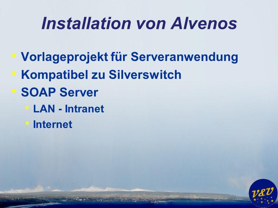 Installation von Alvenos * Vorlageprojekt für Serveranwendung * Kompatibel zu Silverswitch * SOAP Server * LAN - Intranet * Internet