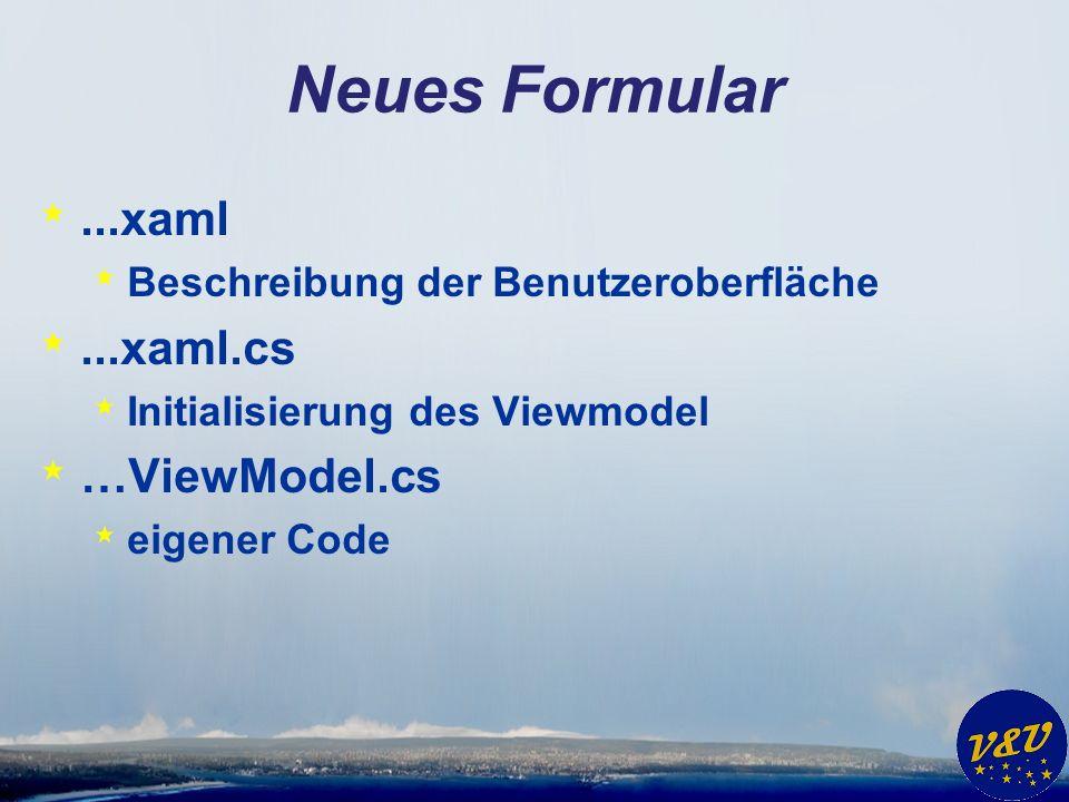 Neues Formular *...xaml * Beschreibung der Benutzeroberfläche *...xaml.cs * Initialisierung des Viewmodel * …ViewModel.cs * eigener Code