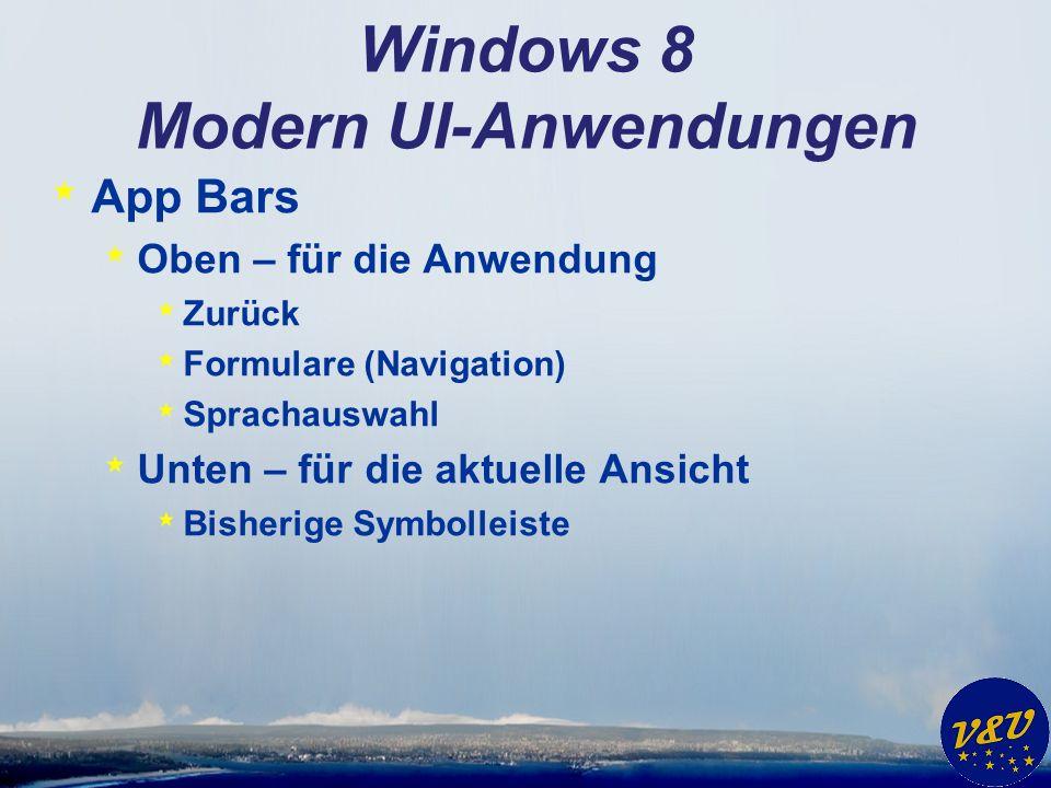 Windows 8 Modern UI-Anwendungen * App Bars * Oben – für die Anwendung * Zurück * Formulare (Navigation) * Sprachauswahl * Unten – für die aktuelle Ansicht * Bisherige Symbolleiste