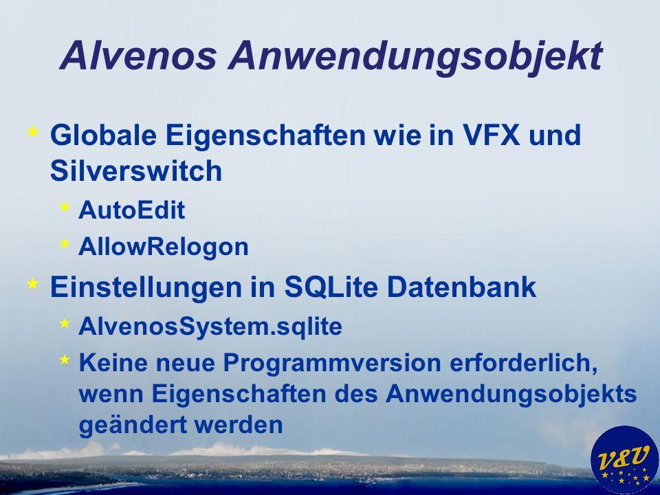 Alvenos Anwendungsobjekt * Globale Eigenschaften wie in VFX und Silverswitch * AutoEdit * AllowRelogon * Einstellungen in SQLite Datenbank * AlvenosSy