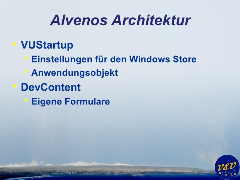Alvenos Architektur * VUStartup * Einstellungen für den Windows Store * Anwendungsobjekt * DevContent * Eigene Formulare