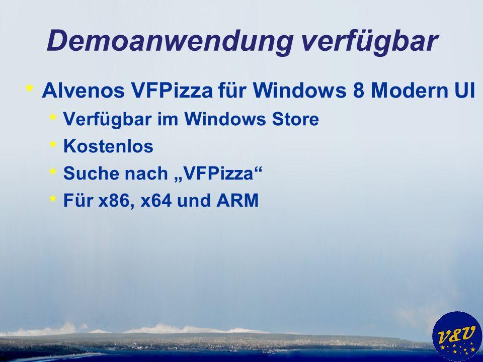 Demoanwendung verfügbar * Alvenos VFPizza für Windows 8 Modern UI * Verfügbar im Windows Store * Kostenlos * Suche nach VFPizza * Für x86, x64 und ARM