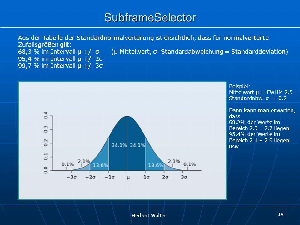 Herbert Walter 14 SubframeSelector Aus der Tabelle der Standardnormalverteilung ist ersichtlich, dass für normalverteilte Zufallsgrößen gilt: 68,3 % i