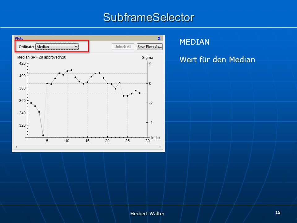 Herbert Walter 15 SubframeSelector MEDIAN Wert für den Median
