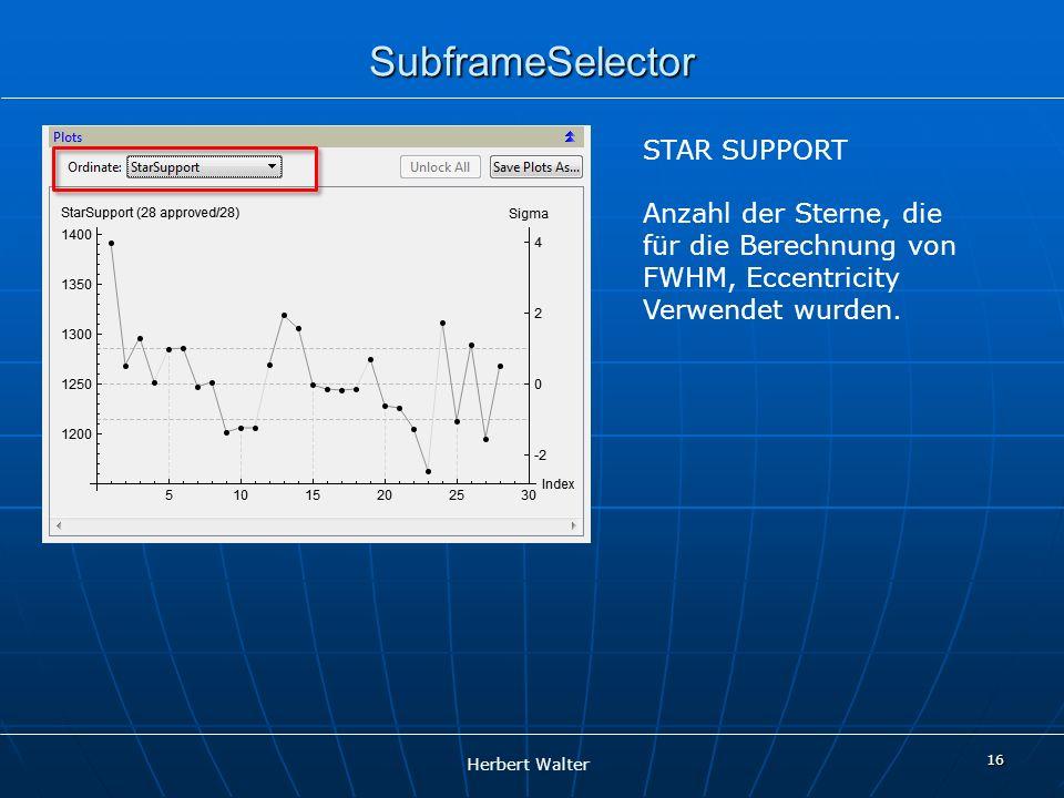 Herbert Walter 16 SubframeSelector STAR SUPPORT Anzahl der Sterne, die für die Berechnung von FWHM, Eccentricity Verwendet wurden.