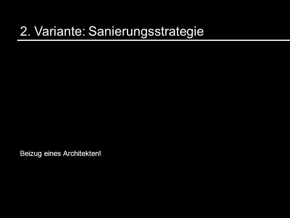 2. Variante: Sanierungsstrategie Beizug eines Architekten!