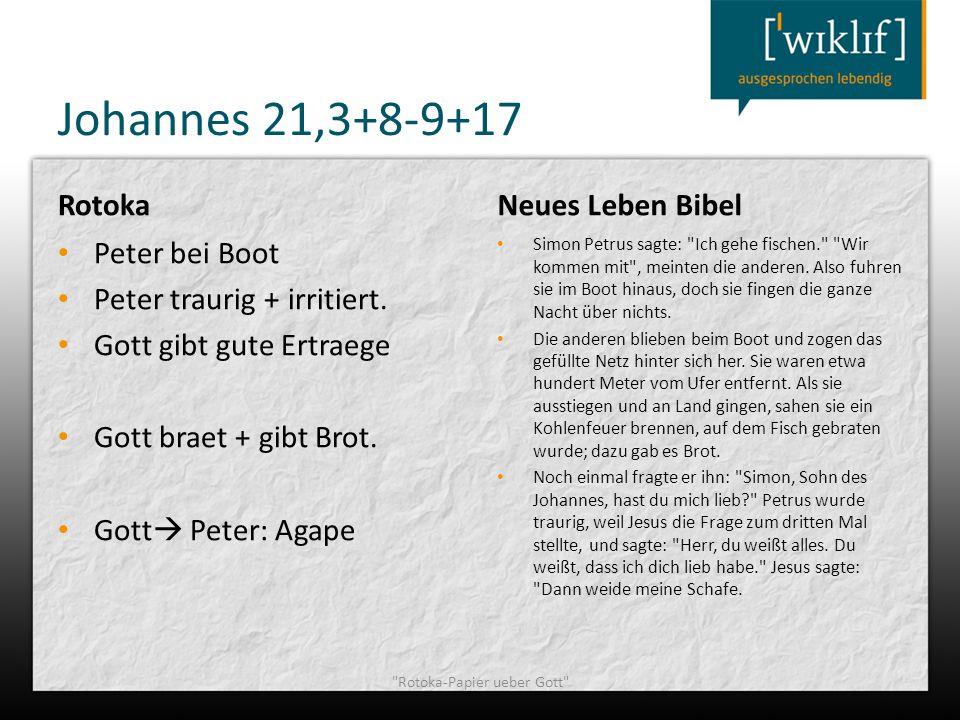 Johannes 21,3+8-9+17 Rotoka Peter bei Boot Peter traurig + irritiert. Gott gibt gute Ertraege Gott braet + gibt Brot. Gott Peter: Agape Neues Leben Bi