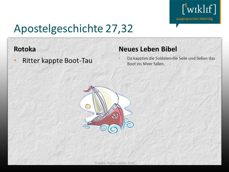 Apostelgeschichte 27,32 Rotoka Ritter kappte Boot-Tau Neues Leben Bibel Da kappten die Soldaten die Seile und ließen das Boot ins Meer fallen.
