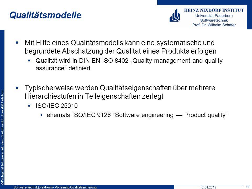 © Fachgebiet Softwaretechnik, Heinz Nixdorf Institut, Universität Paderborn Qualitätsmodelle Mit Hilfe eines Qualitätsmodells kann eine systematische
