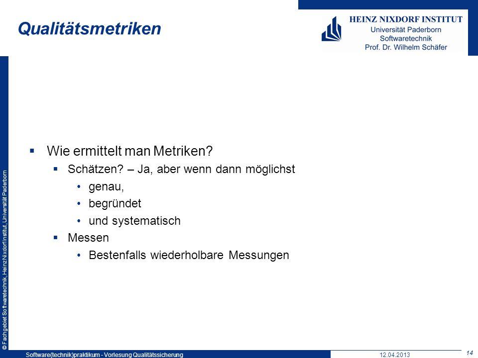 © Fachgebiet Softwaretechnik, Heinz Nixdorf Institut, Universität Paderborn Qualitätsmetriken Wie ermittelt man Metriken? Schätzen? – Ja, aber wenn da