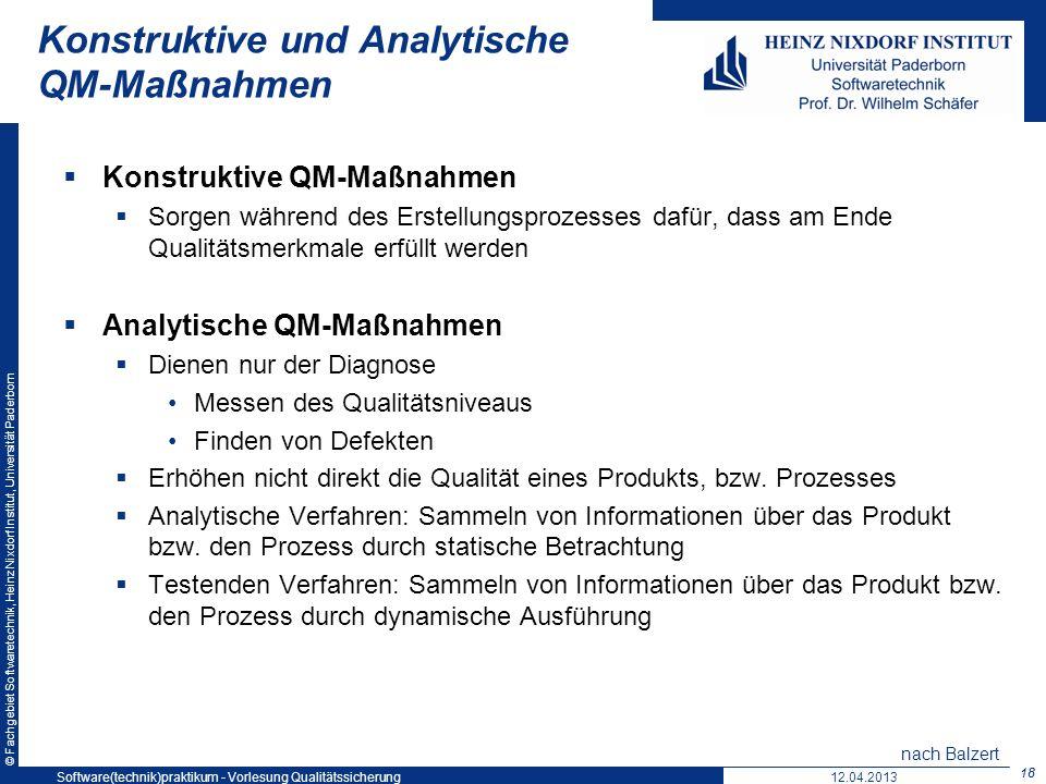 © Fachgebiet Softwaretechnik, Heinz Nixdorf Institut, Universität Paderborn Konstruktive und Analytische QM-Maßnahmen Konstruktive QM-Maßnahmen Sorgen