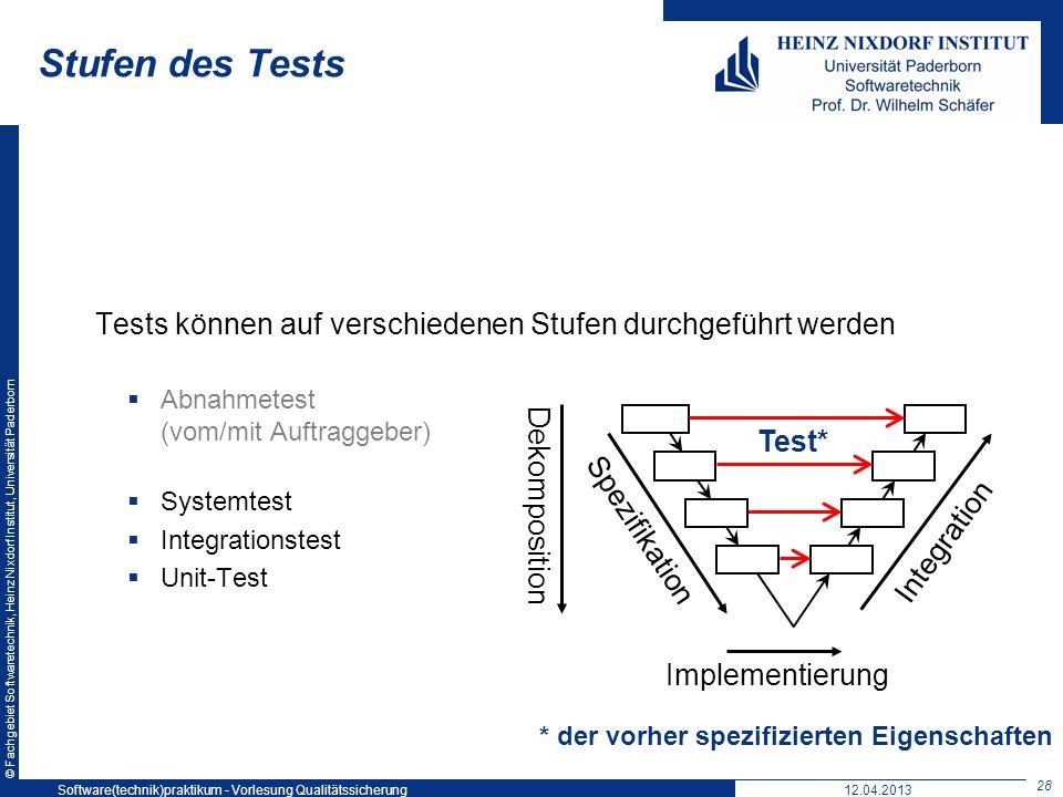 © Fachgebiet Softwaretechnik, Heinz Nixdorf Institut, Universität Paderborn Stufen des Tests Tests können auf verschiedenen Stufen durchgeführt werden