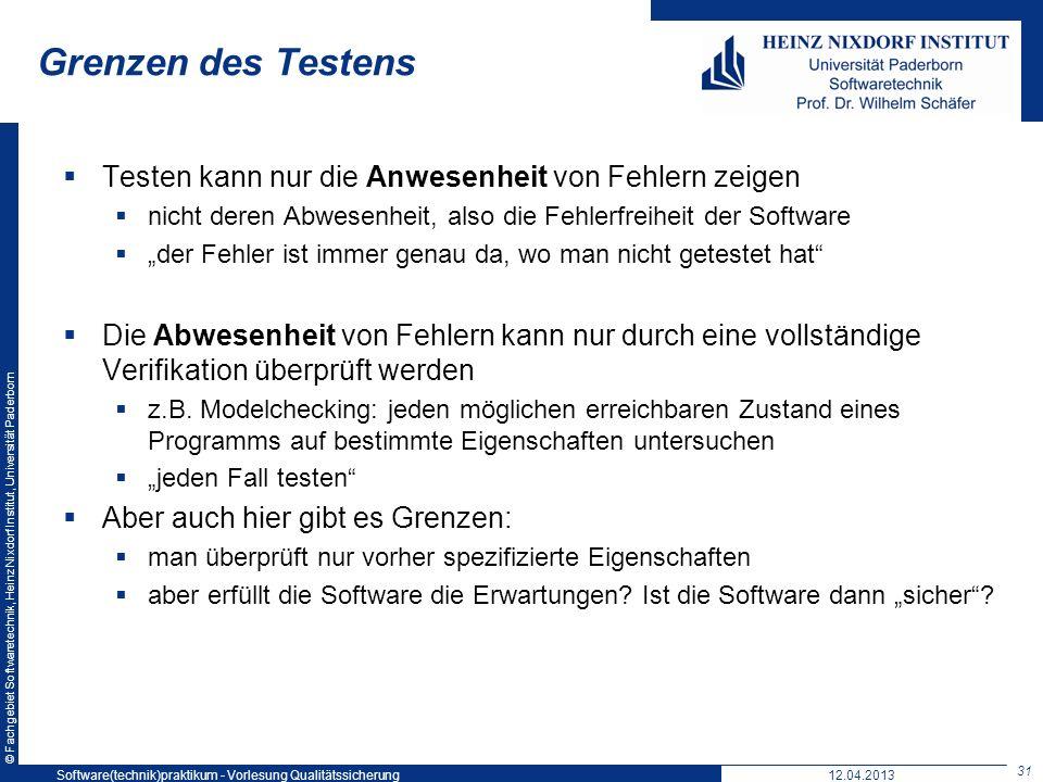 © Fachgebiet Softwaretechnik, Heinz Nixdorf Institut, Universität Paderborn Grenzen des Testens Testen kann nur die Anwesenheit von Fehlern zeigen nic