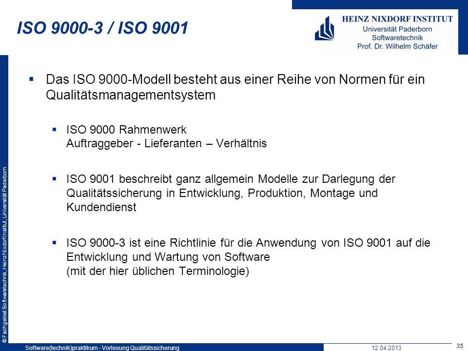 © Fachgebiet Softwaretechnik, Heinz Nixdorf Institut, Universität Paderborn ISO 9000-3 / ISO 9001 Das ISO 9000-Modell besteht aus einer Reihe von Norm