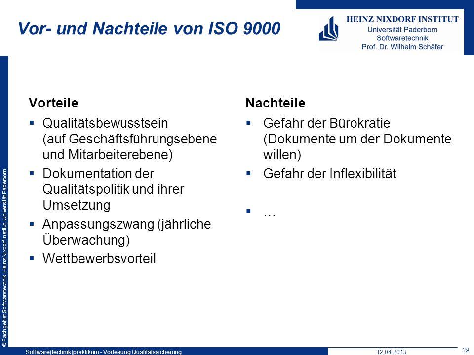 © Fachgebiet Softwaretechnik, Heinz Nixdorf Institut, Universität Paderborn Vorteile Qualitätsbewusstsein (auf Geschäftsführungsebene und Mitarbeitere