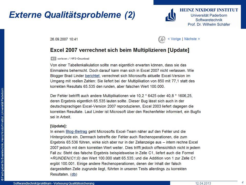 © Fachgebiet Softwaretechnik, Heinz Nixdorf Institut, Universität Paderborn Beispiel für ein Qualitätsmodell: Factor-Criteria-Metrics-Model 15 Q-MetrikenQ-TeileigenschaftenQ-Eigenschaften Funktionalität Zuverlässigkeit Bedienbarkeit … Richtigkeit Angemessenheit Interoperabilität Verständlichkeit Erlernbarkeit Bedienbarkeit … LOC Interactions /Use Case … 380k 2,5 0,01 0,1 0,7 0,3 0,2 0,5 0,3 0,2 0,5 QM-Bericht Die Qualität beträgt: 0,4 Qualitätsstufe: gut 12.04.2013Software(technik)praktikum - Vorlesung Qualitätssicherung 15