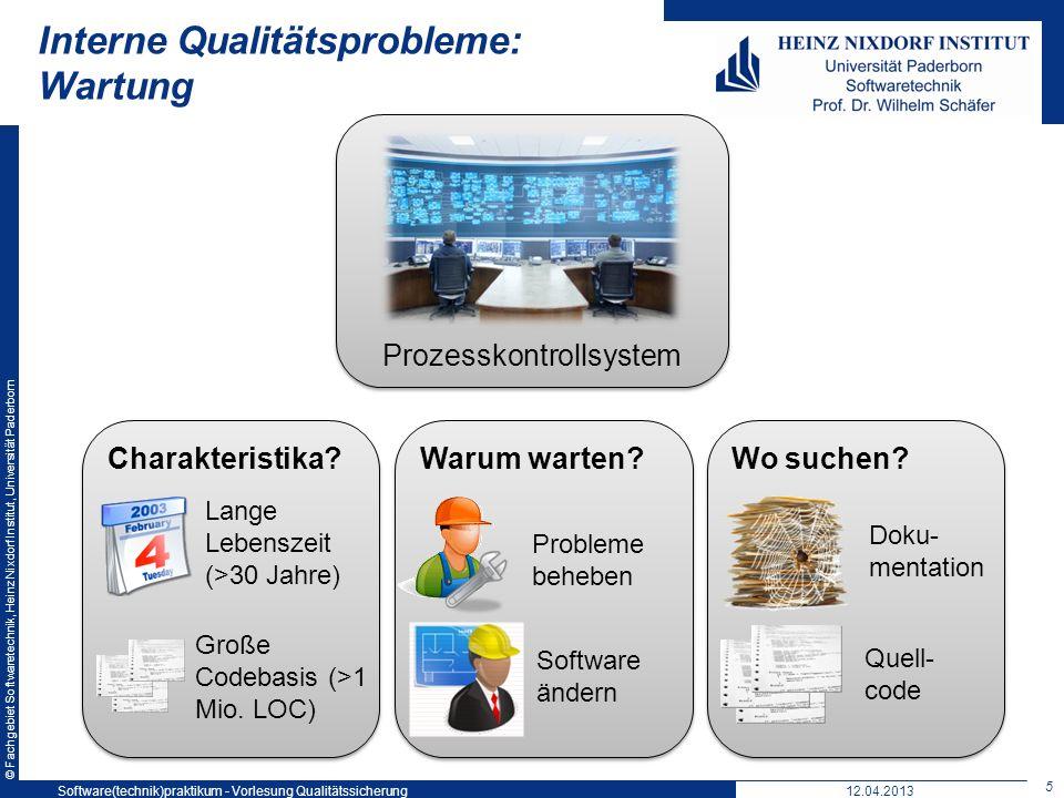 © Fachgebiet Softwaretechnik, Heinz Nixdorf Institut, Universität Paderborn 5 12.04.2013 Interne Qualitätsprobleme: Wartung Software(technik)praktikum
