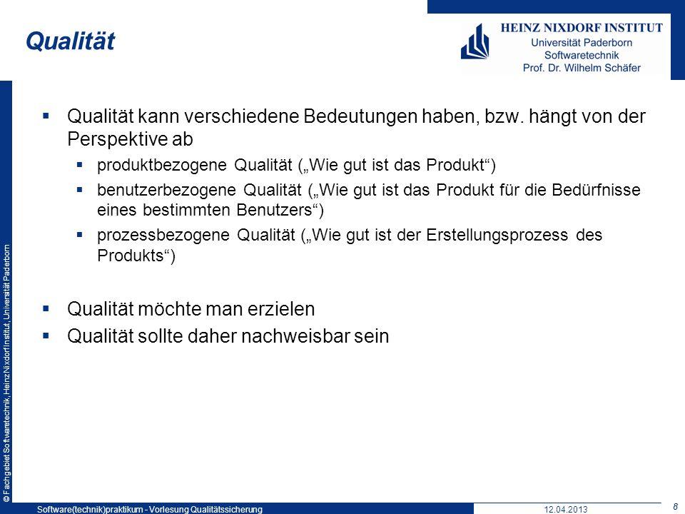 © Fachgebiet Softwaretechnik, Heinz Nixdorf Institut, Universität Paderborn Vorteile Qualitätsbewusstsein (auf Geschäftsführungsebene und Mitarbeiterebene) Dokumentation der Qualitätspolitik und ihrer Umsetzung Anpassungszwang (jährliche Überwachung) Wettbewerbsvorteil Nachteile Gefahr der Bürokratie (Dokumente um der Dokumente willen) Gefahr der Inflexibilität … Vor- und Nachteile von ISO 9000 39 12.04.2013Software(technik)praktikum - Vorlesung Qualitätssicherung